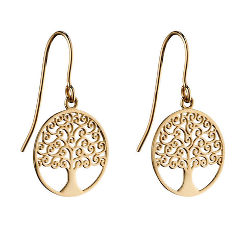 Tree of Life drop earrings in 9ct gold