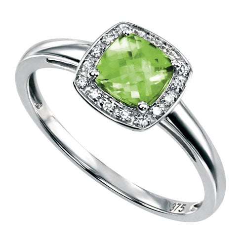 Peridot and diamond halo cluster ring in 9ct white gold