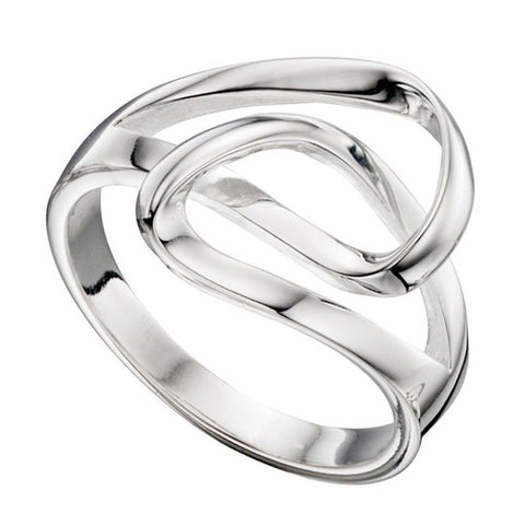 Open twisted wave design ring in silver