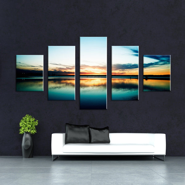 5 Panels the  Sea landscape modern art canvas wall paintings cuadros decorativos canvas prints paintings for living room wall