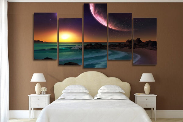 HD Printed purple planet ocean artistic Painting on canvas room decoration print poster picture canvas Free shipping/ny-4166