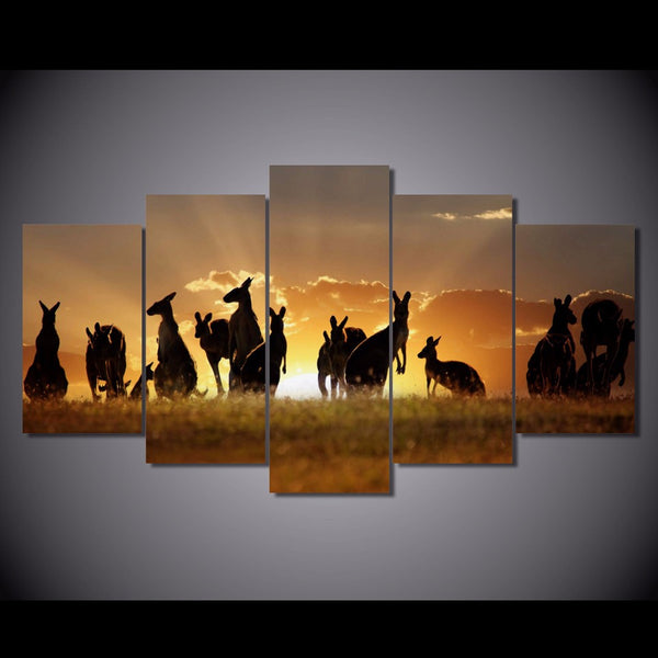 5 Piece Canvas Art HD Printed Red Kangaroos Sunset Painting Canvas Art Print Room Decor Poster and Prints Free shipping/NY-6340