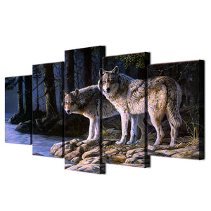 HD Printed 5 piece canvas art wild animal two wolves painting wall pictures for living room wall art Free shipping/ny-4305