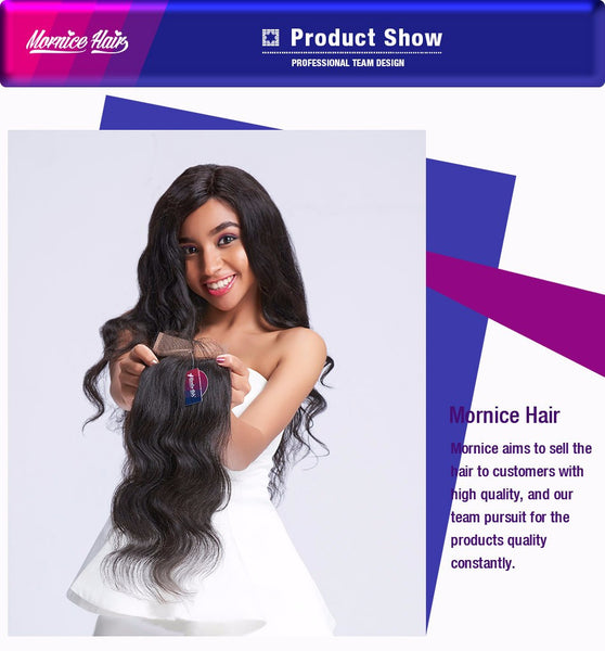 Mornice Hair Brazilian Body Wave 4X4 Lace Closure All Hand Tied Middle Part Density 130% Bleached Knots Remy Hair Free Shipping