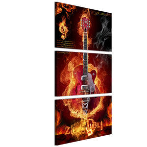 HD printed 3 piece burning flame fire music guitar wall pictures for living room game posters and prints Free shipping/ny-6761B