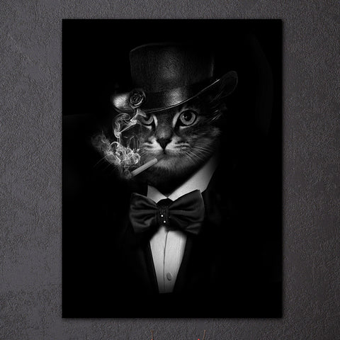 HD Printed 1 piece Canvas Art Smoking Gentleman Cat Painting Black Abstrat Wall Pictures For Living Room Free Shipping NY-6911D