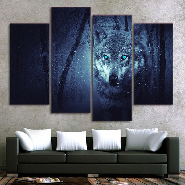 HD Printed 4 piece Canvas Prints Snow Wolf Forest Dark Paintings for Living Room Wall Posters and Prints Free Shipping CU-1414D