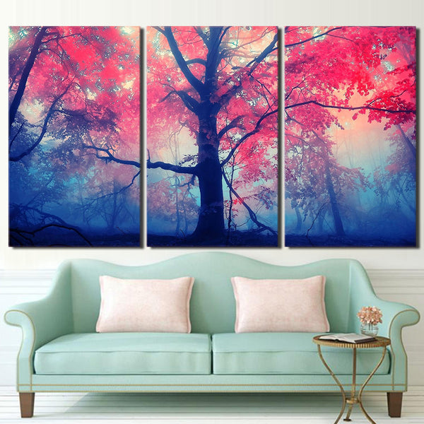 HD printed 3 piece pink tree maple canvas painting for living room decor wall art posters and prints Free shipping/ny-6722B