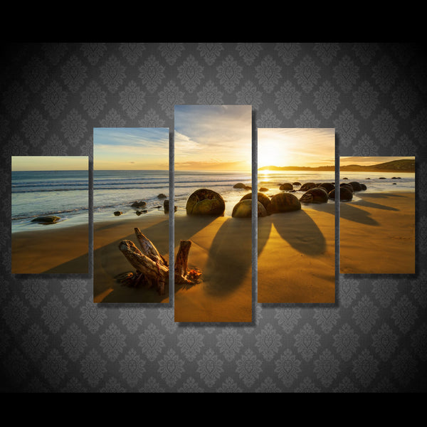 HD Printed 5 piece Canvas Art Paintings Beach Sunset Sea Stones Room Decor Canvas Paintings Wall Art Posters and Prints ny-6214