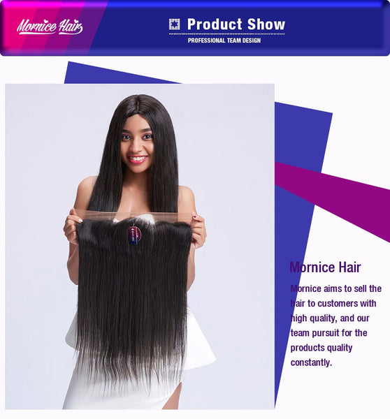 Mornice Hair Brazilian Remy Hair 13X4 Lace Frontal Closure Straight Bleached Knots Baby Hair 130% Density Free Shipping