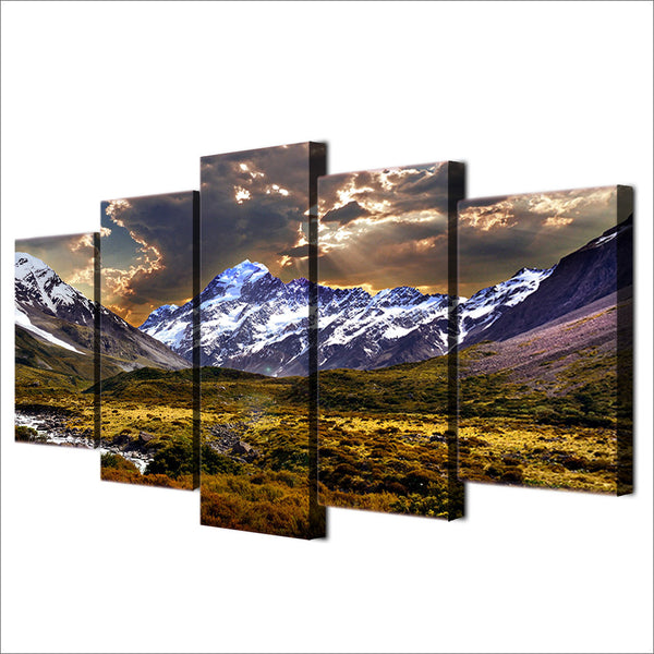 HD printed 5 piece Canvas Painting sky ice mountain grassland Artwork living room decor posters and prints free shipping ny-6518