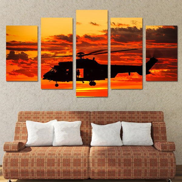 HD Printed 5 piece canvas art paintings helicopter sunset sundown room decor canvas wall art posters and prints ny-6202