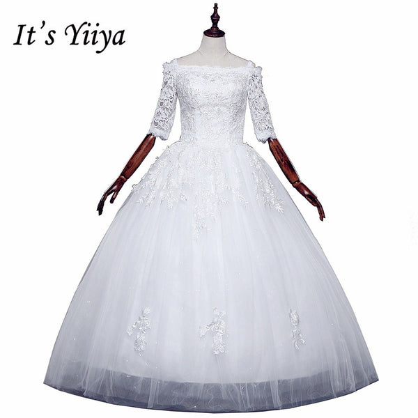 Free shipping 2017 Summer Sleeves Lace Boat Neck Wedding Dresses Plus size Princess Bride Gowns Vestidos De Novia HS252