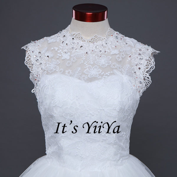 Free shipping Sleeveless Bride dresses White Wedding Ball Gowns  Princess Vestidos De Novia O-neck Frock Bride Dress IY002