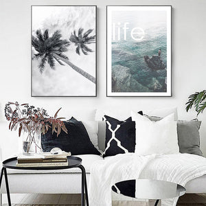 Seascape Coconut Trees Art Print Wall Art Canvas Painting Poster Wall Pictures For Living Room Nordic Poster Cuadros Unframed