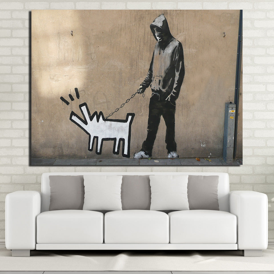 HD Printed 1 piece Banksy Street Canvas Painting Graffiti Wall Frame Poster Wall Pictures for Living Room Free Shipping NY-7067C