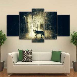 HD printed 5 piece canvas art wolf in Light and shadow painting wall pictures for living room modern free shipping CU-2429A
