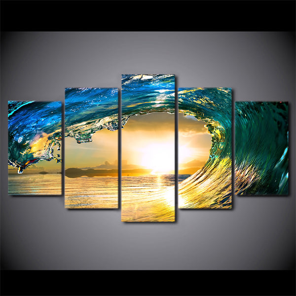 HD Printed 5 Piece Canvas Art Wave Eye Painting Surfing Wall Pictures for Living Room Home Decoration Free Shipping CU-2585B