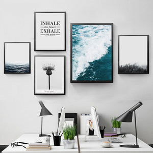 Inhale Exhale Wall Picture Decor Painting Canvas Print Poster,  Forest Sea Scenery Nature Wall Pictures For Home Decor YT0059