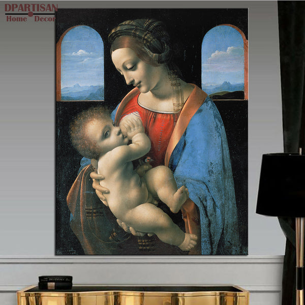 DPARTISAN Leonardo da Vinci Madonna Litta (Madonna and the Child) wall art pictures  No frame print wall painting decoration art