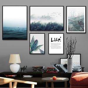 Landscape Painting Forest Sea Nordic Poster Posters And Prints Wall Art Canvas Painting Wall Pictures For Living Room Unframed