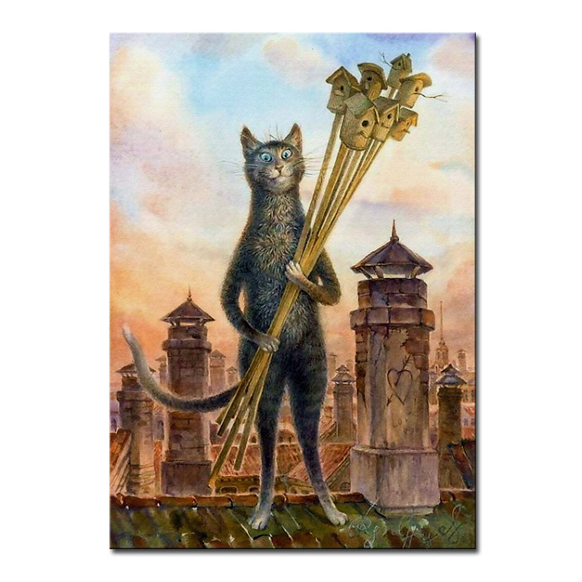 Vladimir Rumyantsev house owner with cat world oil painting wall Art Picture Paint on Canvas Prints wall painting no framed
