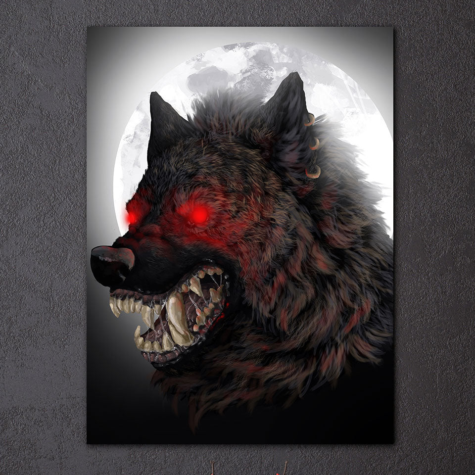HD Printed 1 Piece Red Eyes Glowing Wolf Canvas Painting Animal Picture Canvas Prints Posters and Prints Free Shipping NY-7275D