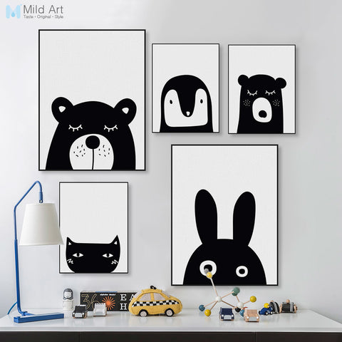 Black White Kawaii Animal Bear Rabbit Poster A4 Nordic Baby Kids Room Wall Art Print Pictures Home Deco Canvas Painting No Frame