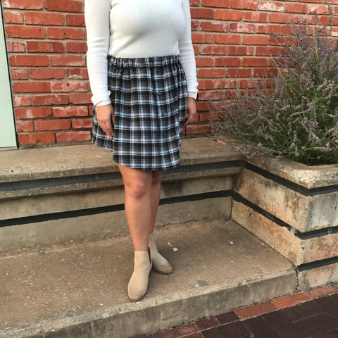 Grey & Blue Plaid Oxford Skirt