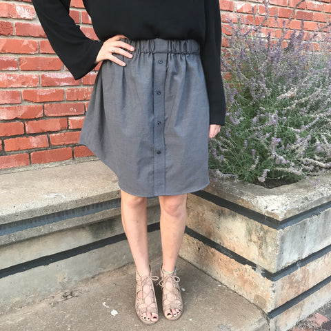 Grey Oxford Skirt