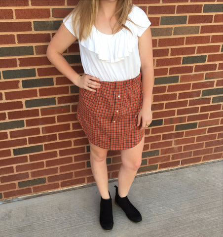 Orange Plaid Oxford Skirt