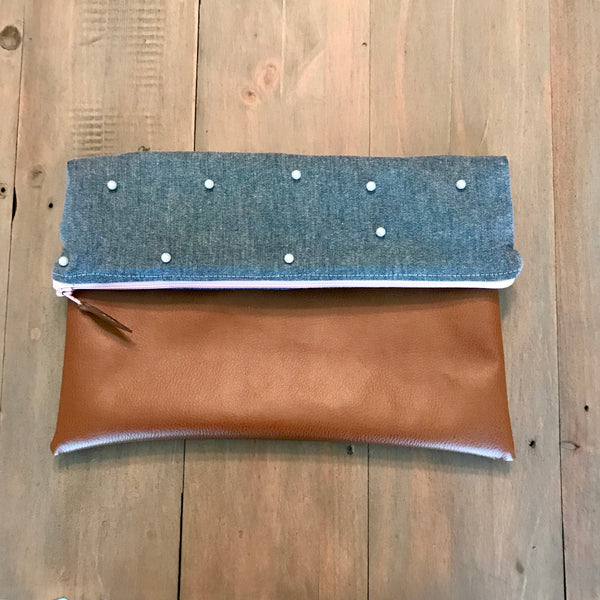 Pearl Chambray Fold-Over Clutch