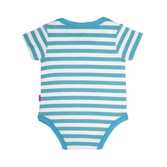 back side of a 100% cotton short sleeve blue and white stripe bodysuit for baby or toddler. Blue trim around the neck and leg openings.