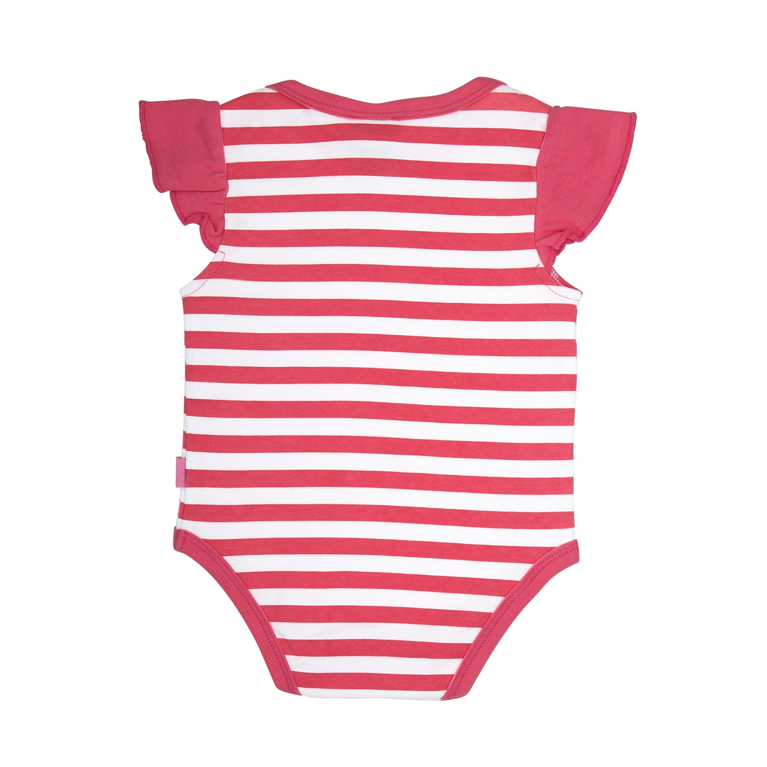back side of a 100% cotton pink and white stripe bodysuit that is short sleeve with ruffles on the shoulder. Pink trim around the neck and leg openings.