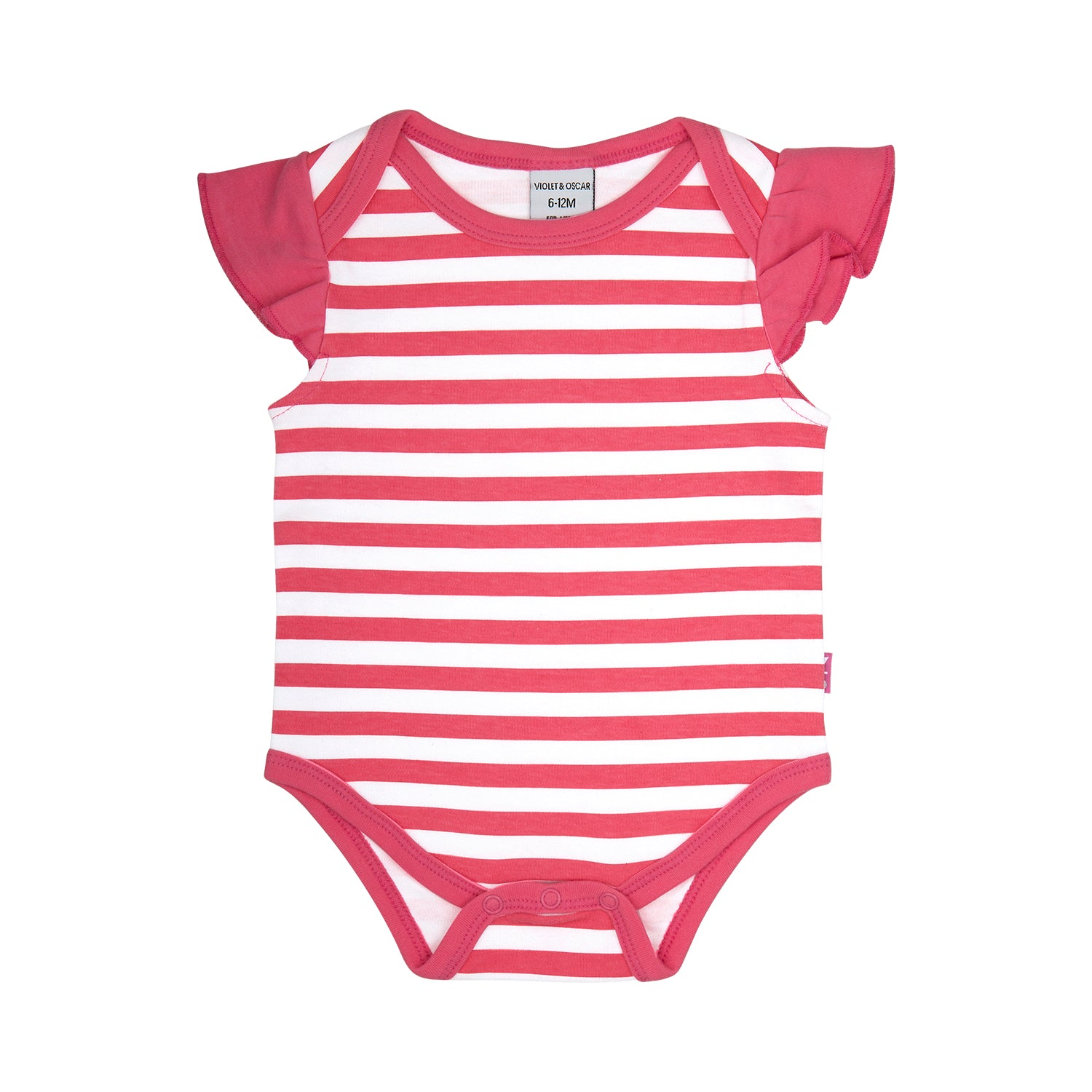front side of a 100% cotton pink and white stripe bodysuit that is short sleeve with ruffles on the shoulder. Pink trim around the neck and leg openings.