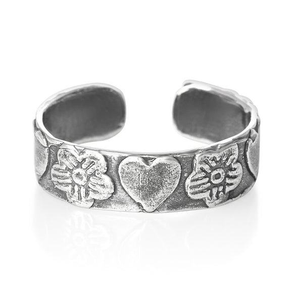 TR-1490 Orchids n Hearts Toe Ring | Teeda