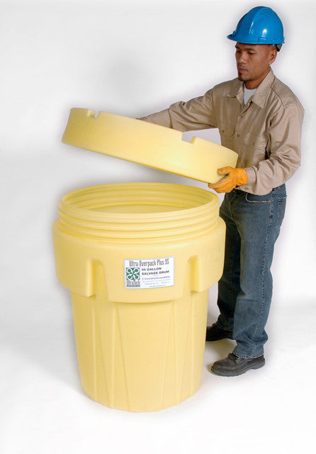 0582 Ultra Overpack Plus Salvage Drum, 65 Gallon, Screw On Lid, Yellow