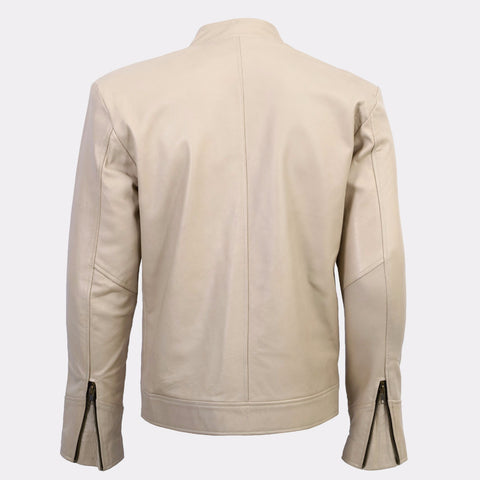 BALTORO - BEIGE SHEEPSKIN CAFE RACER JACKET