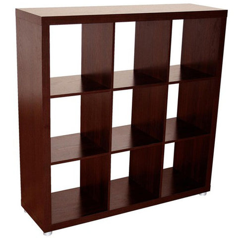 Caro - 3x3 Cube Bookcase, Bookshelf, walnut veneer color