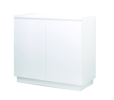 Manhattan - 2 Doors Chest or Cabinet, milled Handles, white veneer color