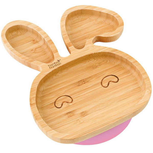 BAMBOO BUNNY STAY PUT SUCTION PLATE, NATURAL BAMBOO