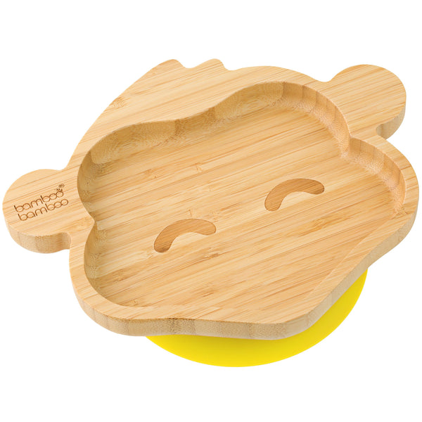 Bamboo Monkey Suction Plate, Stay Put Feeding Plate, Natural Bamboo