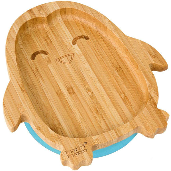 BAMBOO PENGUIN STAY PUT SUCTION PLATE, NATURAL BAMBOO