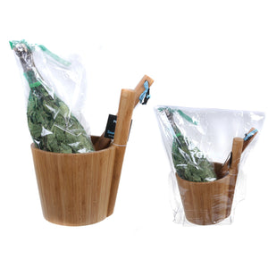 Rento Bamboo Sauna Set - Sauna Ladle, Pail & Birch Whisk/Vihta Set  Sauna Accessories Set Finnmark Sauna