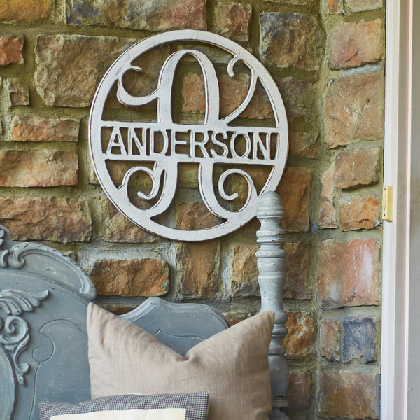Circle Monogram with Family Name - 2 Sizes