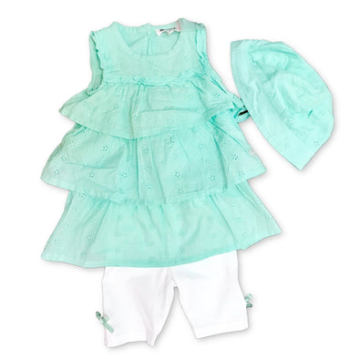 3Pommes Infant Girls 3Pc Mint Sundress Set