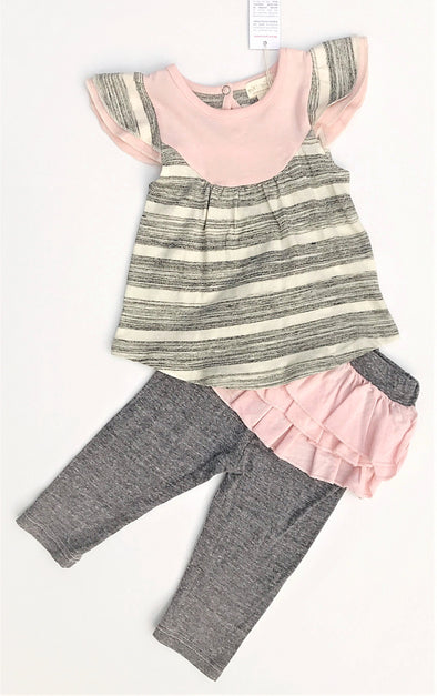 Miki Mietti 2Pc  Soft Cotton Tunic and Leggings with Ruffles