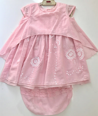 3pommes Infant  Girl 2pc Dress With Diaper Cover