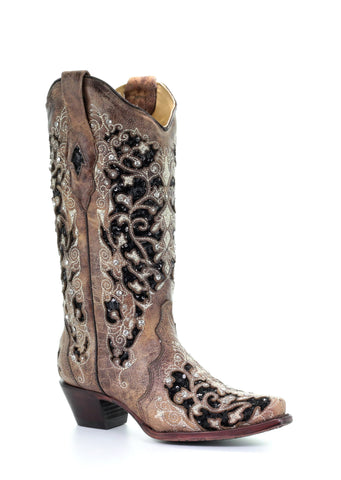 Corral Wedding Collection Women's Martina White Glitter Inlay & Crystals Boot - A3322