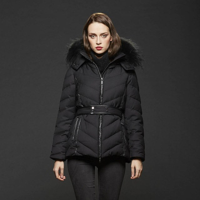Gimo 5D190 Women's Down and Fur Jacket in Black - ON SALE!